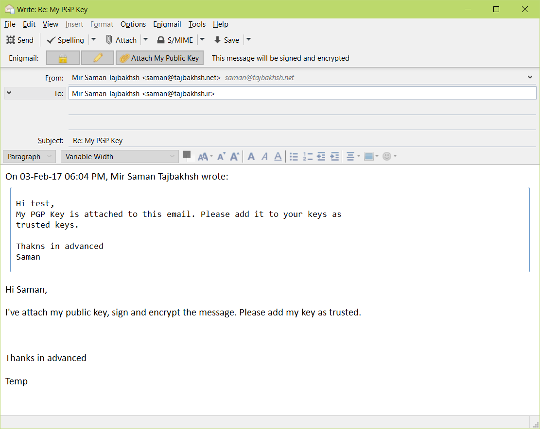 how to send receive pgp messages gpg
